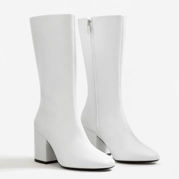 Mango White Leather Block Heel Boots